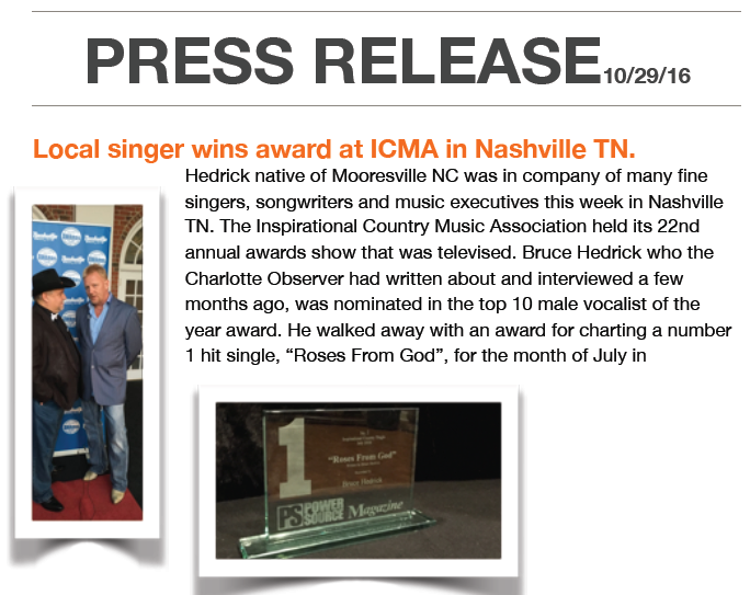 Local Singer Wins Award At ICMA In Nashville, TN – October 29, 2016